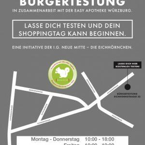 Plakat Schnelltest-Zelt in der Eichhornstraße