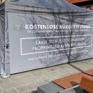 Schnelltestzelt in der Eichhornstraße am 24.4.